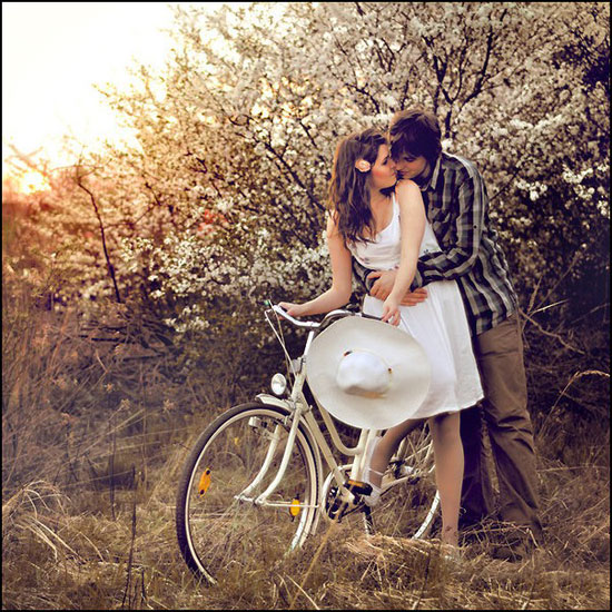 lovely and cute couples on a bycycle facebook profile pictures