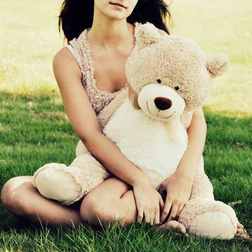 girl with teddy bear facebook profile photo