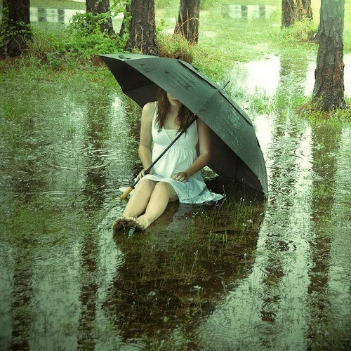 Sad Girl In Umbrella Sitting In A Rain – FB Profile Picture