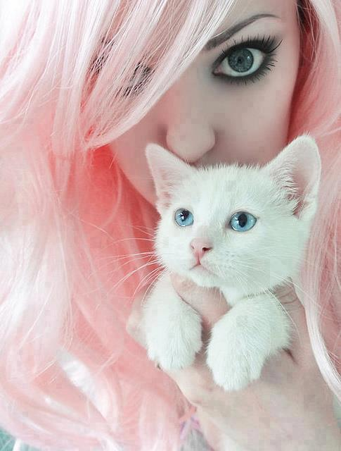 Emo Girl with Beautiful Cat Facebook Profile Pictures