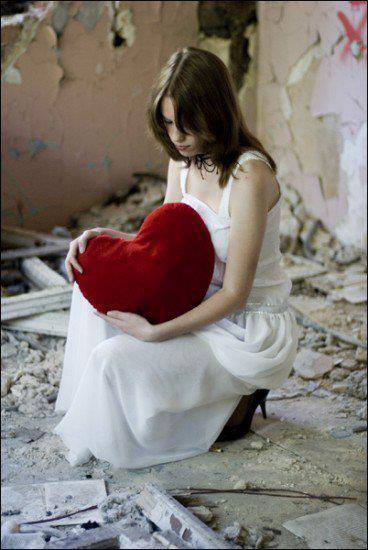 sad girl with heart facebook DPs
